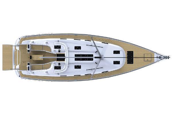 Vom Hersteller zur Verfügung gestelltes Bild:  Bavaria Cruiser 45-Oberdeck-Layoutplan