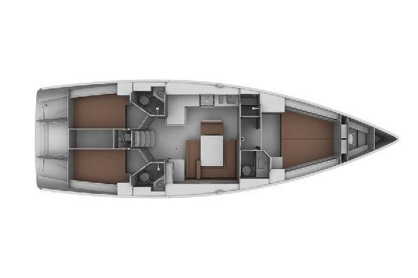 Vom Hersteller zur Verfügung gestelltes Bild:  Bavaria Cruiser 45-Unterdeck-Layoutplan