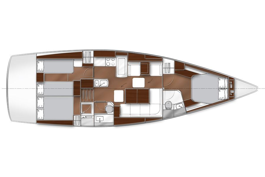 Vom Hersteller zur Verfügung gestelltes Bild: Bavaria Vision 46-Unterdeck-Plan