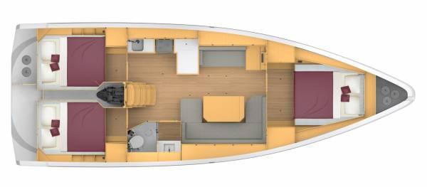 Bavaria C42 - 3 kabina 1 głowica