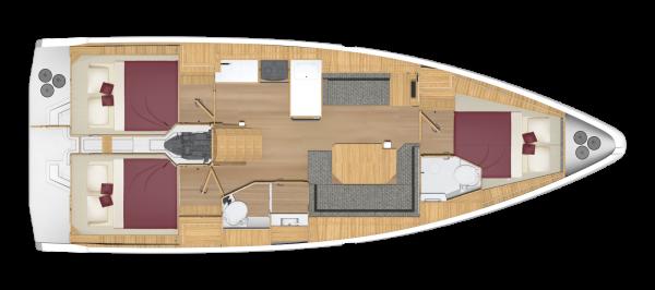 Bavaria C38 - 3 kabina 2 głowica