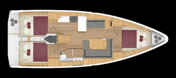 Bavaria C38 - 3 kabina 1 głowica