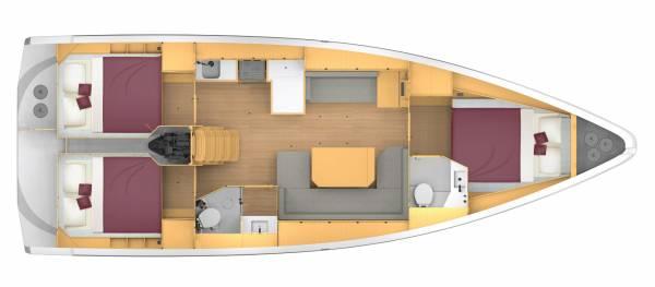 Bavaria C42 - 3 kabiny 2 głowice