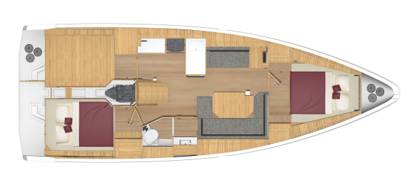 Bavaria C38 - 2 kabina 1 głowica