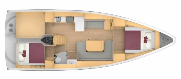 Bavaria C42 - 2 kabina 1 głowica