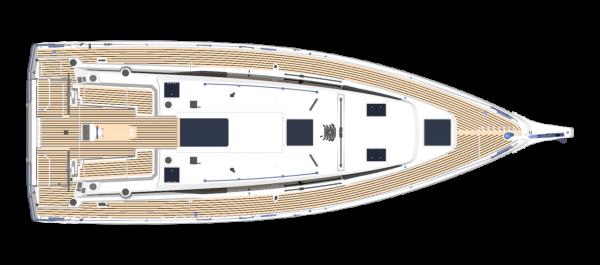 Bavaria C38 - Plan pokładu