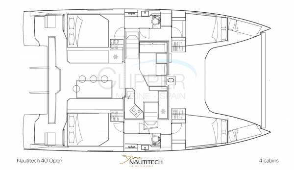 Nautitech 40 Abierto - Disposición de 4 cabinas