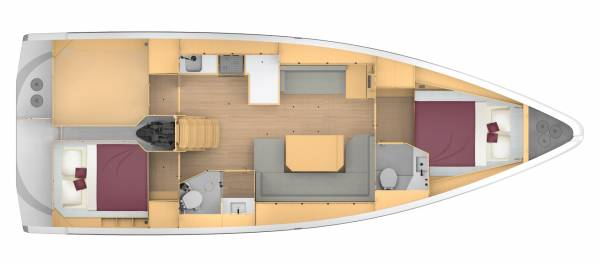 Bavaria C42 - 2 kabiny 2 głowice