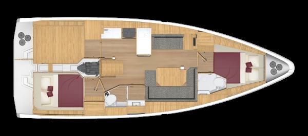 Bavaria C38 - 2 kabina 2 głowica