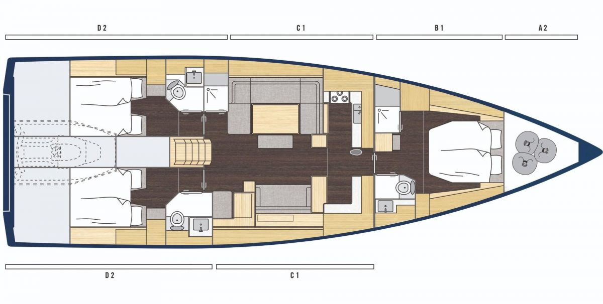 owners layout - 3 cabin + skipper´s cabin