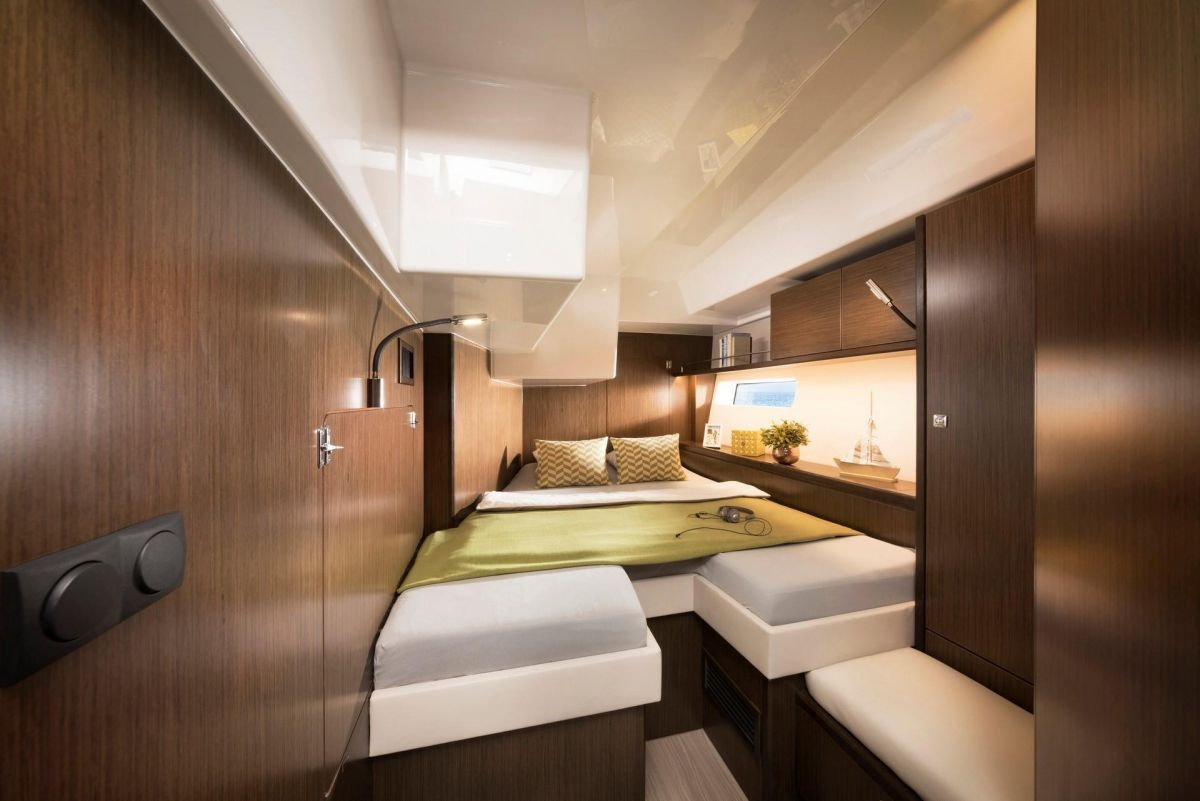 2020 Bavaria C57 Port guest aft cabin - nice and roomy - brochure photo