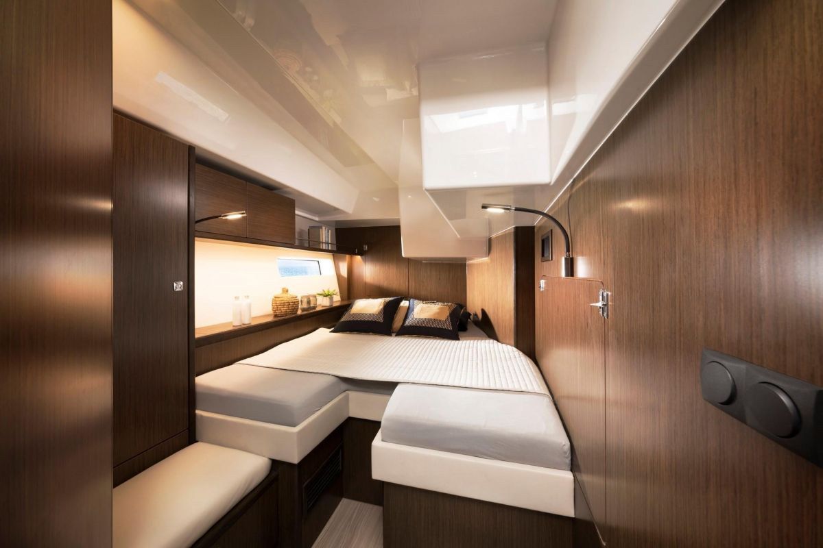 2020 Bavaria C57 Starboard guest cabin aft - elegant and spacious - brochure photo