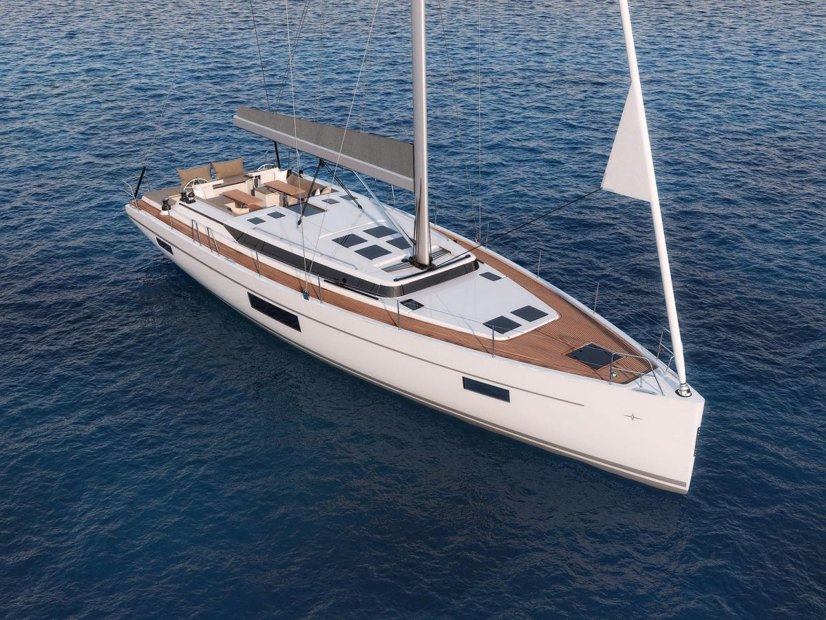 2020 Bavaria C57 at sea from bow - brochure photo
