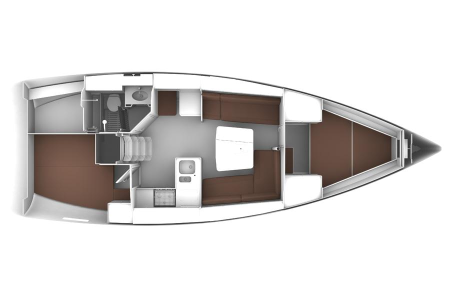 Manufacturer Provided Image: Bavaria Cruiser 37 Lower Deck Layout Plan