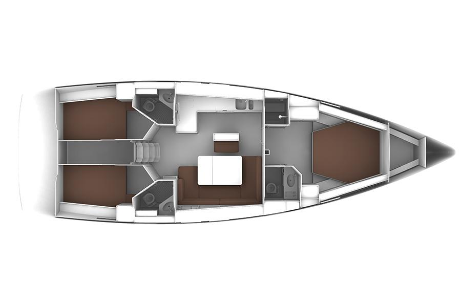Bavaria Cruiser 46 - 3 cabin layout