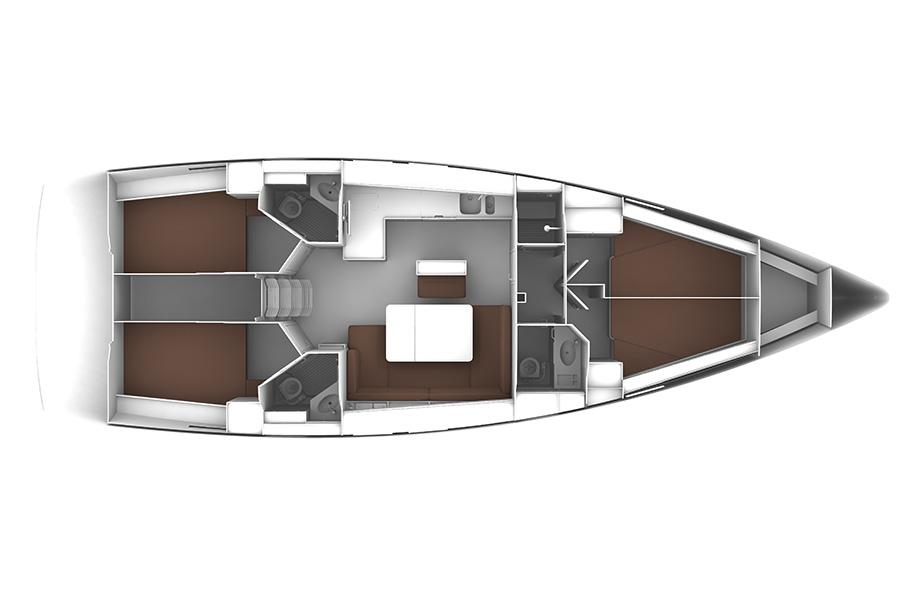 Manufacturer Provided Image: Bavaria Cruiser 46 Lower Deck Layout Plan