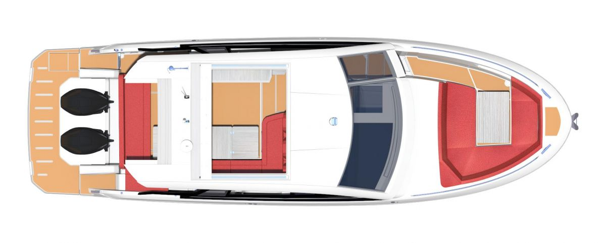 2021 Bavaria VIDA 33 HT Layout 2 with foredeck table and setee